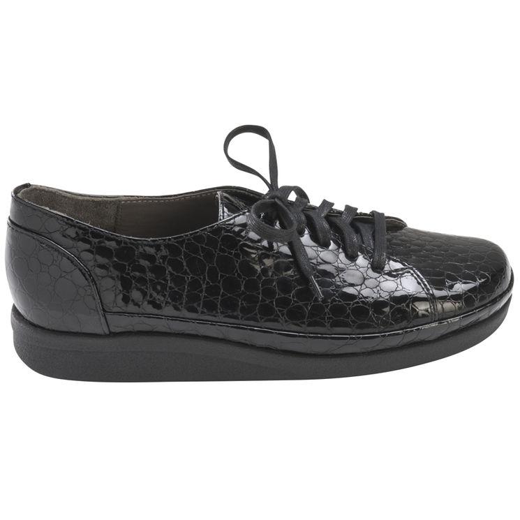 4d33713a168b PRINCESSE NOIR CROCO - La chaussure à lacets pieds sensibles | JB Rodde
